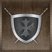Heraldický štít s maltézský kříž. — Stock fotografie