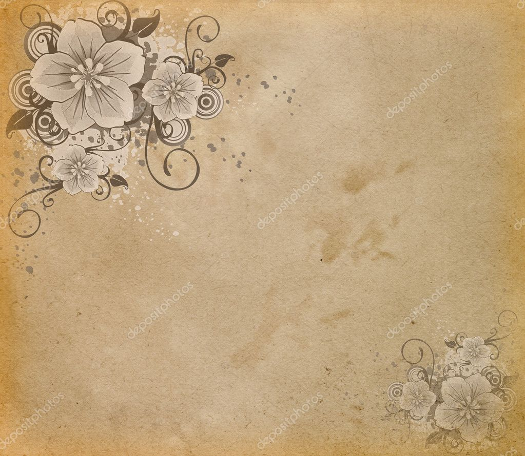 Vintage paper with floral corners. — Stock Photo #11476454