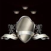 Heraldic shield and ribbon. — Stock Photo