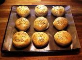Hamburger bread with oregano — Stock Photo