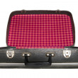 Open vintage suitcase over a white background — Stock Photo