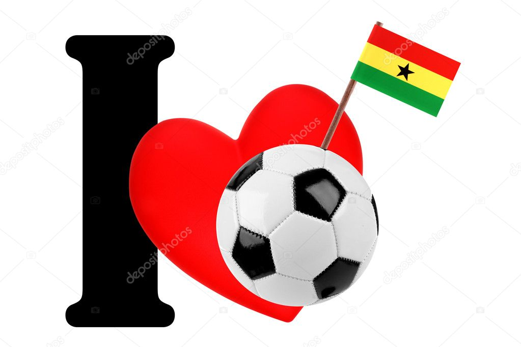 Small flag on a red heart and the word I to express love for the national flag of Ghana — Stock Photo #10882222