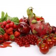 Stock Photo: Red fruits and vegetables