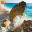Big rocks fragment and wave (Lefkada, Greece) — Stock Photo #11806981