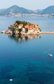 Sveti Stefan sea islet morning view from up (Montenegro). — Stock Photo