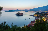 Night Sveti Stefan sea islet (Montenegro) — Stock Photo