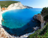 Summer coast panorama with sandy beach (Lefkada, Greece). — Stock Photo