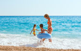 Family vacation on summer Ionian sea — Stock Photo