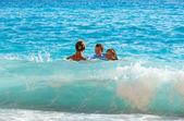 Family vacation on summer Ionian sea — Stock Photo