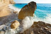 Big rocks fragment and wave (Lefkada, Greece) — Stock Photo