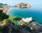 Sveti Stefan sea islet morning view (Montenegro, Sveti Stefan) — Stock Photo