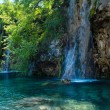 Stock Photo: Summer waterfalls and limpid lake (Plitvice, Croatia)