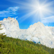 Dolomites mountain summer sunshine view - Stock Photo