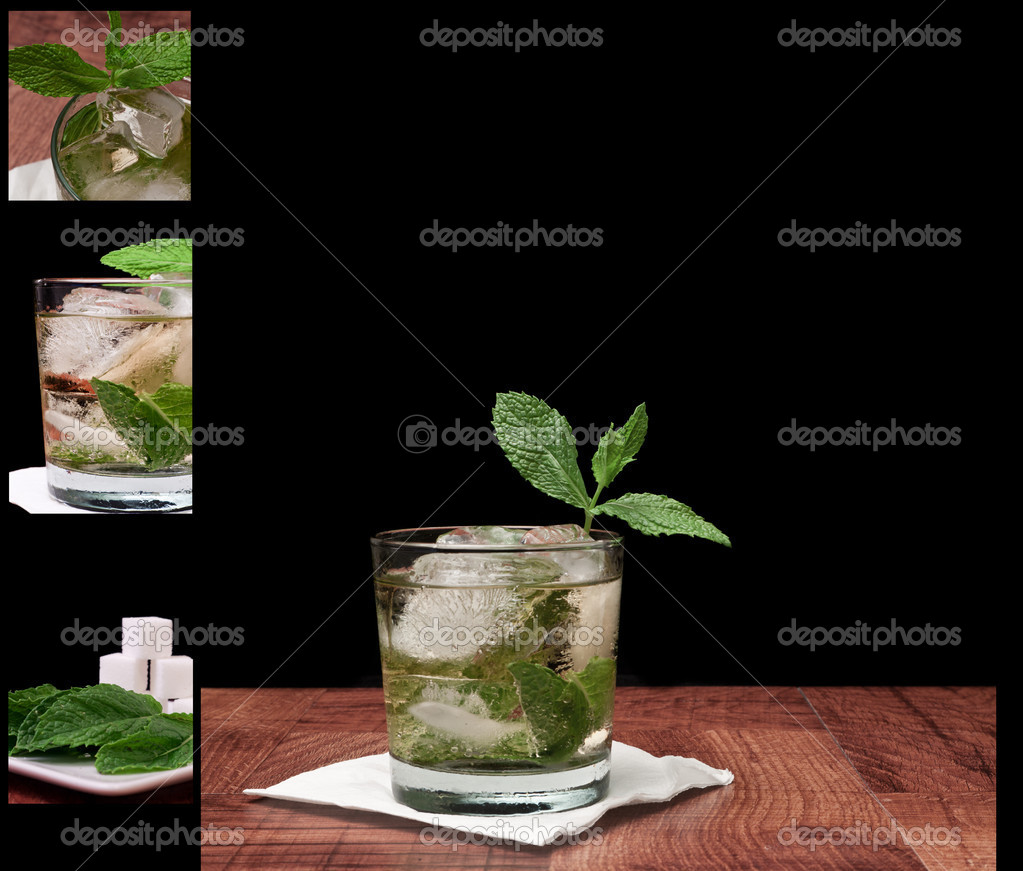 Mint julep isolated on a black background served on a bar top garnished with fresh mint  Stock Photo #10751127