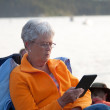 Adult woman reading electronically — Stock Photo