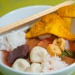 Seafood yong tau foo (rice noodles with fishball) — Stock Photo