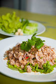 Larb chicken salad. Traditional Thai food, with ground chicken lime, chili and herbs. This food is popular in the north-east of the country (Isaan) — Stock Photo