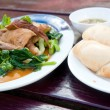 Stock Photo: Steam pork leg with gravy and vegetable With White Wheat Bun