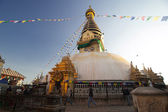 "Swayambhunath pagoda is the famous landmark Buddhist temple in Kathmandu, Nepal. The temple is also know as the ""monkey temple"". — Stock Photo"