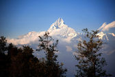 Beautiful evening view of the Himalayan mountains when see from Sarangkot, Pokhara, Nepal — Stock Photo