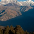 Beautiful view of Himalayan mountains with snow in morning when see from Ghorepani Village, Poon Hill Trekking way, Nepal — Stock Photo #11168427