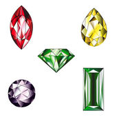 Many type and collection of colorful jewelry and diamond shape — 图库照片