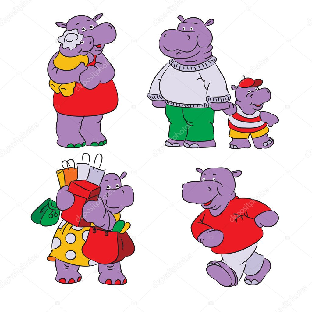 Funny cartoon hippopotamus, isolated from a background. — Stock Vector #11448773