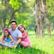 Stock Photo: Father and daughters on picnic