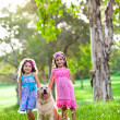 Stock Photo: Two happy little girls and a golden retriever