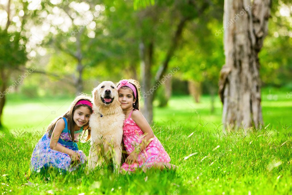 Two young girls hugging golden retriever dog in the park  Stock Photo #11517308