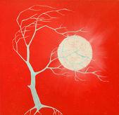 Vindpinade solnedgång träd — Stockfoto