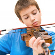 Caucasian boy learning to play violin, isolated on white background, square crop — Foto de Stock