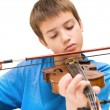 Caucasian boy learning to play violin, isolated on white background, square crop — Stock fotografie