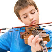 Caucasian boy learning to play violin, isolated on white background, square crop — Stock Photo