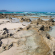 Fuerteventura, Corralejo Flag Beach, sharp volcanc rocks reveale — Stock Photo