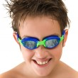 Pleased with new goggles - small caucasian boy in swimming goggles — Stock Photo #11457498