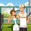 Couple playing tennis - Stockvektor