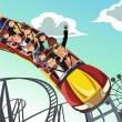 Riding roller coaster — Image vectorielle