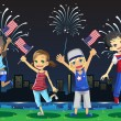 Stock Vector: Kids celebrating Fourth of July