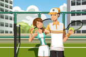 Couple playing tennis — Stock Vector