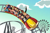 Riding roller coaster — Stockvector