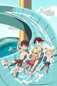 Kids playing in water slides — Stockvector