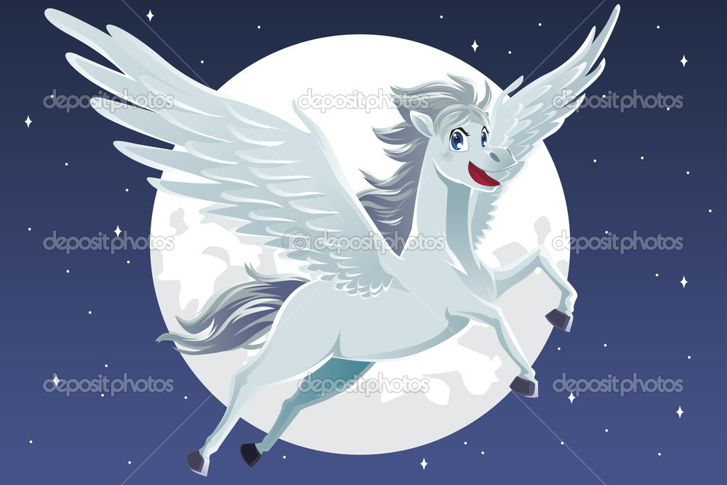 A vector illustration of a flying pegasus  Stock Vector #11037547