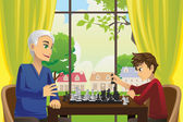 Grandfather and grandson playing chess — Stock Vector