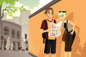Couple tourist — Stock Vector