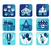 Parque temático iconos — Vector de stock