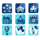 Theme park icons — Stock Vector