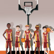 Basketball team players - Stock Vector