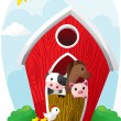 Animals in barn — Stock Vector