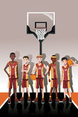 Basketball team players — Stock Vector